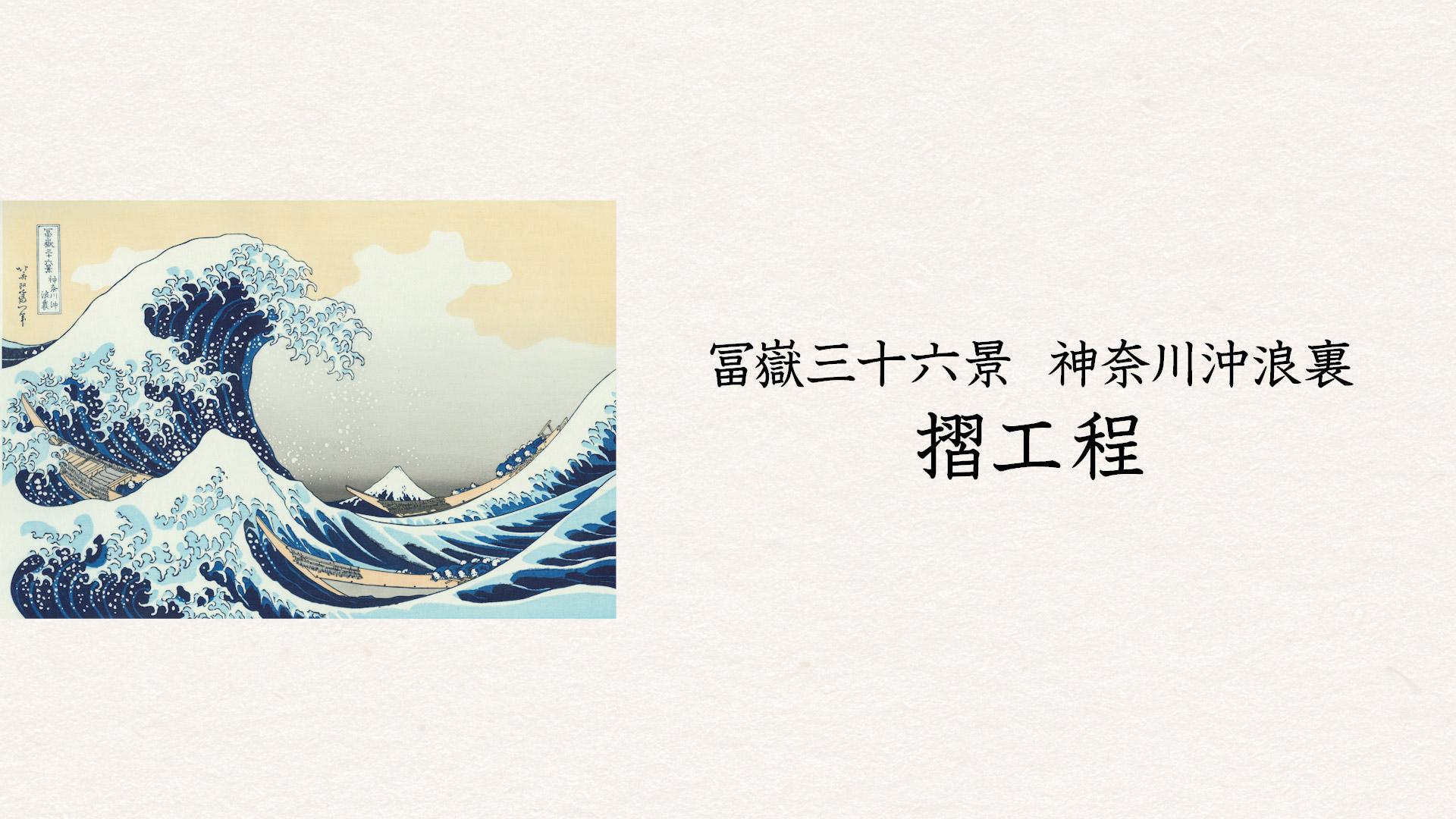 特別展「北斎づくし」-冨嶽三十六景 神奈川沖浪裏 摺工程- 会場用映像制作